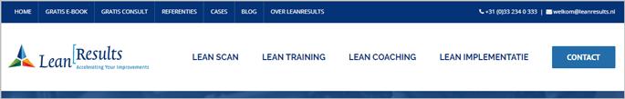 Voorbeeld navigatiestructuur website LeanResults