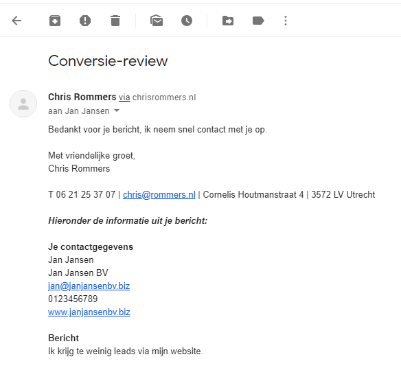 Call to action - bedanktmail